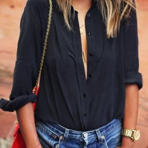 Tops - Black Roll Up Blouse